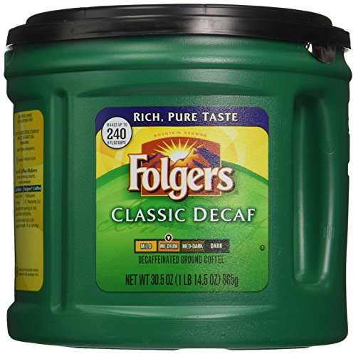 Folgers Classic Decaf Ground Coffee, Medium Roast, 30.5 Ounce Ground Decaffeinated Coffee