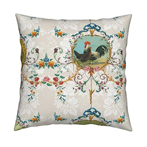 - Chicken Toile Eco Canvas Throw Pillow Chicken Farm Animal Floral Chickens Roosters Toile Vanilla Rococo French Country Flowers Farm by Lilyoake Cover and Insert Included