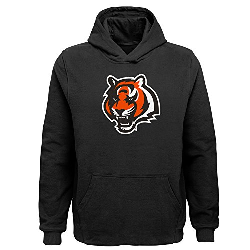 NFL Cincinnati Bengals  Kids Primary Logo Sueded Classic Hoodie Black, Kids Large(7)