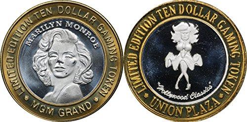 1996 Marilyn Monroe Silver $10 Casino Strike, MGM Grand & Hollywood Classics, w/ Capsules