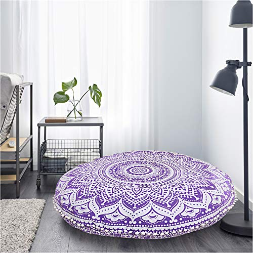 Bohemian Cushion Cover Round Ottoman Mandala Floor Pillows Pouf Cover Mandala Floor Pillow Comfortable (Ottoman Covers Round)