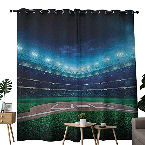 - NUOMANAN Curtains Baseball,Professional Baseball Field at Night Vibrant Playground Stadium League Theme Print, Green Blue,Thermal Insulated Panels Home Décor Window Draperies for Bedroom 54