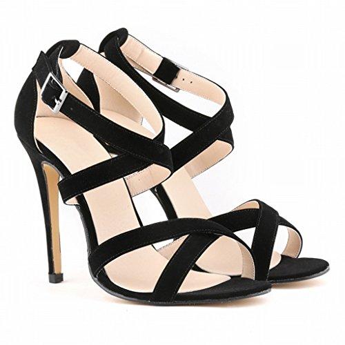 Wotefusi Women Summer Open Toe Crossing Bandage Ankle Strap Sandals Shoes High Heels Stilettos Black tZQC00ddRD