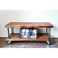 WGX Modern Industrial Rustic Black Metal & Wood Bookcase Pipe 2-Shelf on Wheels