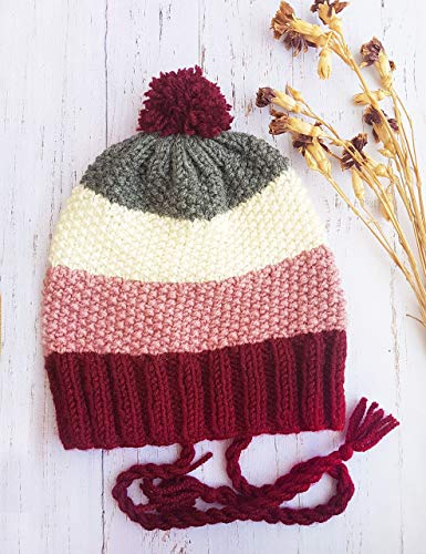 Women's earflap beanie with pom pom - Knit beanie Womens winter hat Gift for her Earflap hat Multicolored beanie Gift for valentine Ask a question