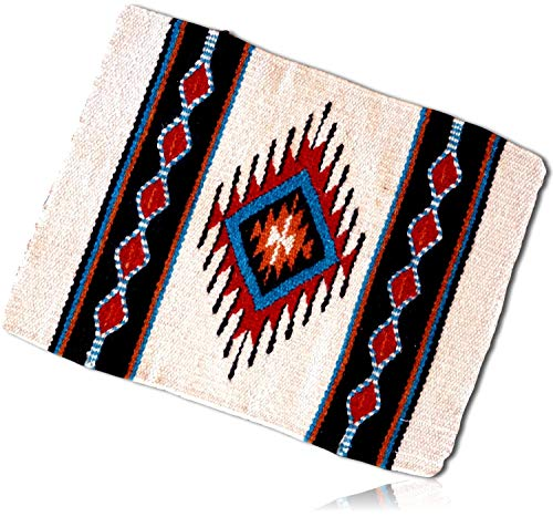 (White, Red, Blue Rectangle Southwestern Center Diamond Native American geometric pattern Fringed Blanket Table Placemats Made of 90% Wool & 10% Polyester yarn [1 Unit] + Certificate)