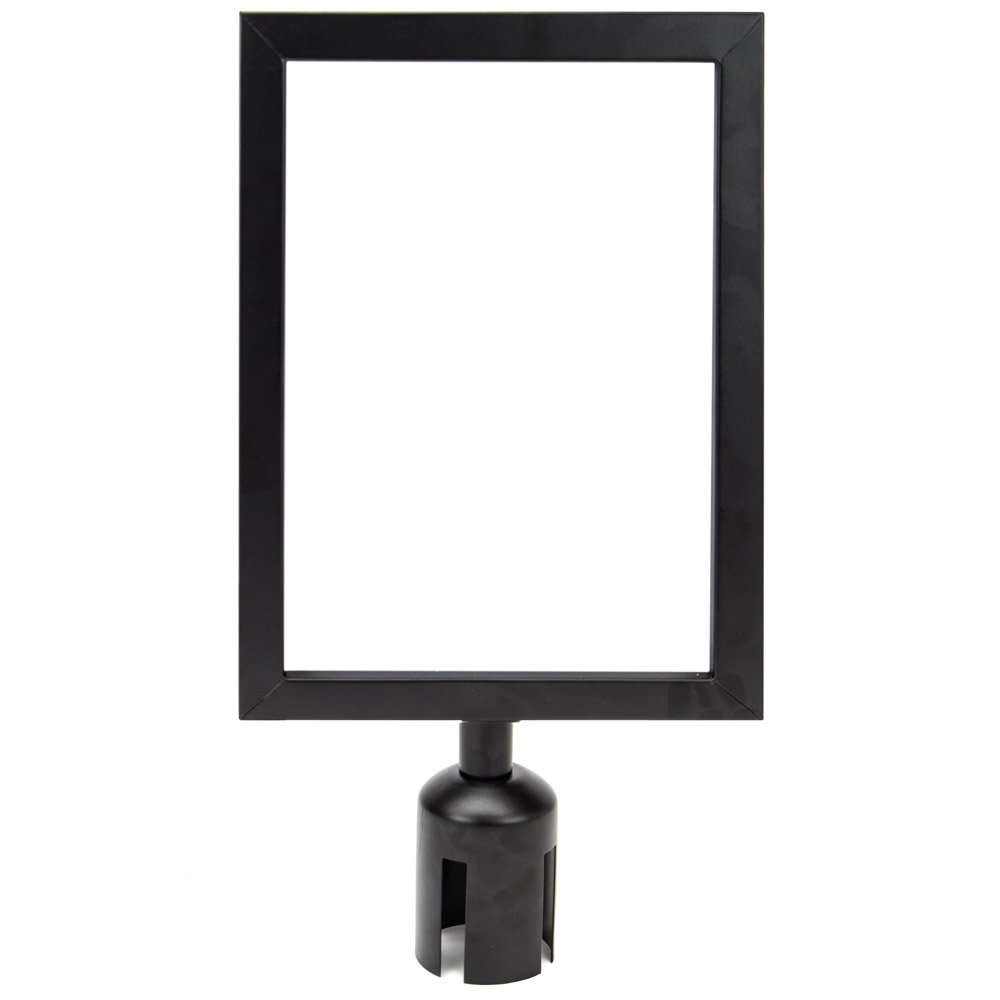 8.5'' x 11'' Stanchion Sign Holder - Double-Sided Black Metal Portrait Frame for 2'' Diameter Retractable Belt Stanchions by Pudgy Pedro's Party Supplies