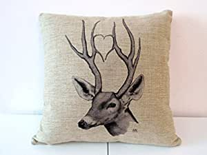 "Decorbox Cotton Linen Square Throw Pillow Case Decorative Cushion Cover Pillowcase for Sofa Deer 18 ""X18 """