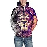 iZHH Mens Sweatshirt 3D Printing Animal Autumn Winter Long Sleeve Cap Top Blouse(Lion-A,XL)