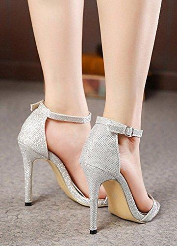 Las Mujeres De La Moda De Aisun Sexy Open Toe Tacones Cubiertos Hebilla Sandalias De Tacón De Aguja Zapatos Con Correas De Tobillo De Plata