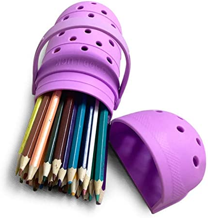 FLHLH Bolsa de lápices de Lona Premium,Estuche de lápices de Silicona para Zapatos con Agujero, Estuche para Estudiantes de Gran Capacidad, ecológico, Inodoro, púrpura: Amazon.es: Hogar