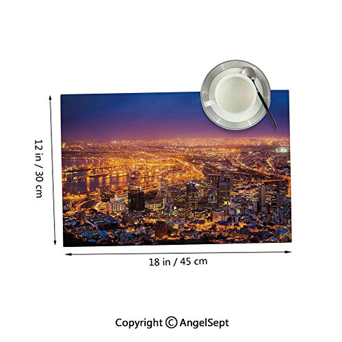 Homenon Fashion Placemats for Dining Table,Cape Town Panorama at Dawn South Africa Coastline Roads Architecture TwilightMarigold Blue Pink 12x18inches,Non-Toxic Placemats Set of 4