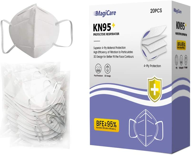 20 PC Magicare KN95 Face Masks 4-Ply Material Protection High Efficiency of Filtration