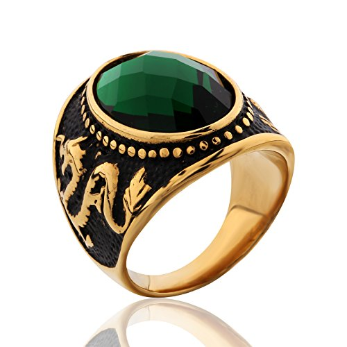 MASOP Stainless Steel Vintage Antique Gemstone Green Emerald Color Stone Ring for Men and Women