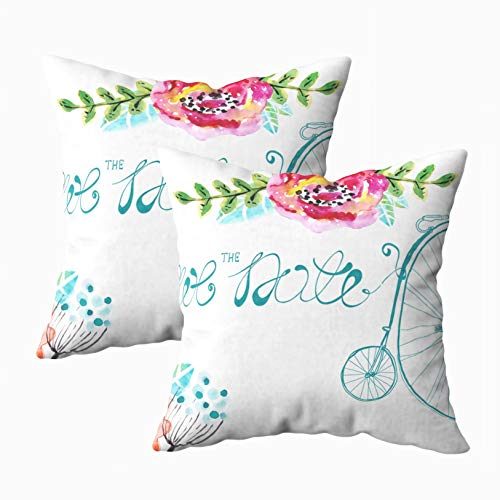 EMMTEEY 18x18 Pillow Covers, Pack 2 Pillow Covers Home Throw Pillow Covers for Sofa Watercolor Floral Frame Wedding Invitation Save The Date Illustration with Retro Square Double Sided Printing (Difference Between Save The Date And Wedding Invitation)