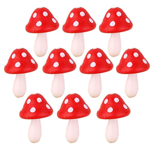 10pcs Miniature Dollhouse Fairy Garden Wood Landscape Mushroom Decor Red