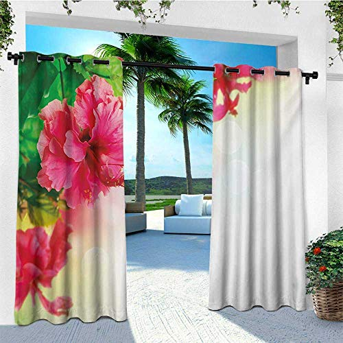 leinuoyi Floral, Outdoor Curtain Ends, Hibiscus Flower Florets Buds Leaf Essence Fragrance Blossoms Garden Image, Outdoor Curtain Set for Patio Waterproof W96 x L108 Inch Hot Pink Fern Green ()