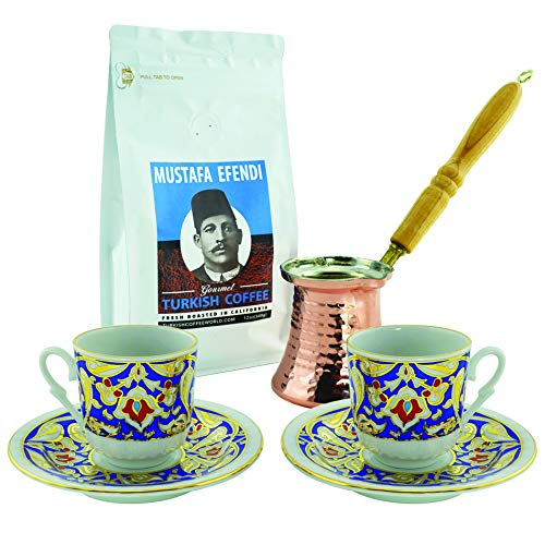 Turkish Coffee World Turkish Coffee Set for Two with Premium coffee - Blue & Gold