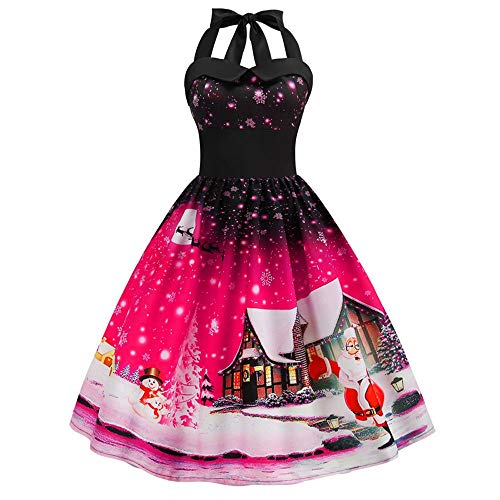 Bib Vintage Tank (Sunhusing Ladies Stylish Sexy Halter Sleeveless Ball Gown Christmas Print Vintage Prom Big Swing Pleated Dress)