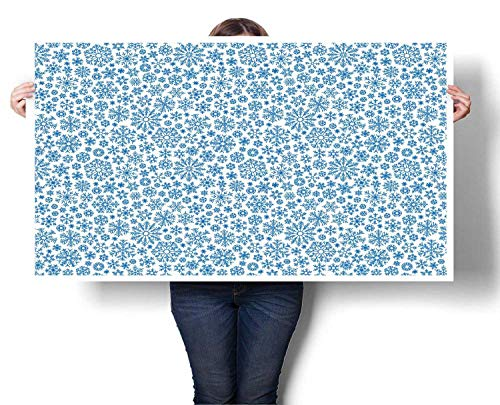 Canvas Arctic Print - Mangooly Large Wall Art Christmas Different Shapes Snowflakes Pattern Winter Frosty Arctic Print Canvas Wall Art for Boys Room Baby Nursery Wall Decor Kids Room Boys Gift 24