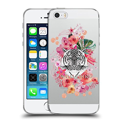 Officiel Monika Strigel Tigre Animaux Et Fleurs 2 Étui Coque en Gel molle pour Apple iPhone 5 / 5s / SE