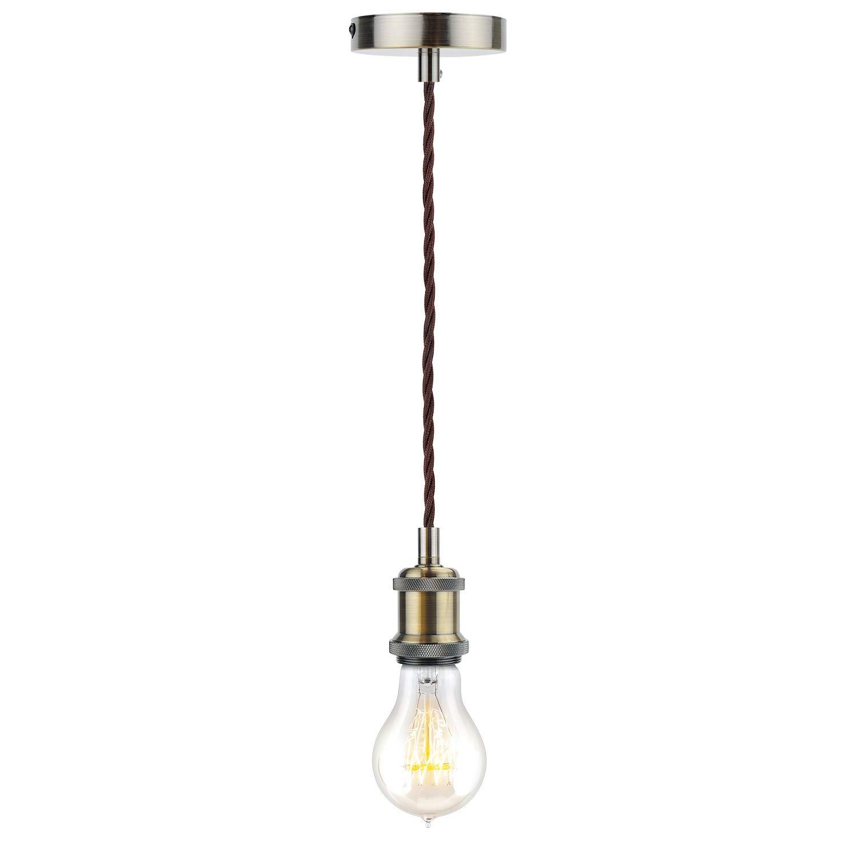 HUIBONA Brown Twisted Braided Flex 1.2M 3-Core E27 Lamp Holder Vintage Ceiling Pendant Light Fitting Antique Bronze