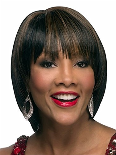 Joker Wigs For Sale (Short Straight Wigs Highligths Brown Black Bob Wigs for Women Natural Heat Resistant Synthetic Hair Wigs 10 inch)