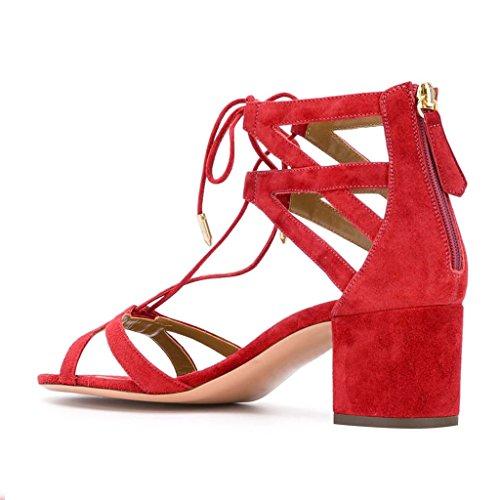 Ydn Donne Classiche Strappy Low-block Sandali Con Tacco Alto Open Toe Cross Straps Dress Shoes Con Stringhe Rosse