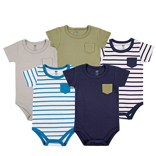 Hudson Baby 5 Pack Fancy Bodysuit with Pocket