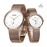 Jiusko Sapphire - Couple Men Women Quartz Wrist Watches - Steel Mesh - 393 (Couple's - Rosegold)