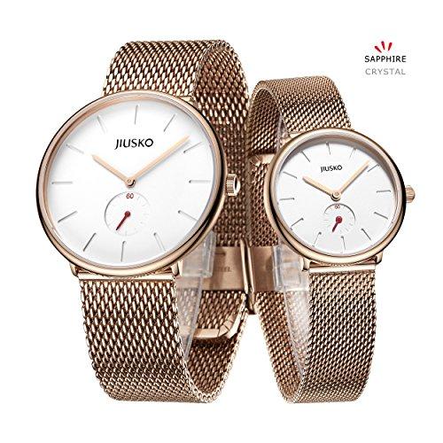 Jiusko Sapphire - Couple Men Women Quartz Wrist Watches - Steel Mesh - 393 (Couple's - Rosegold) by JIUSKO