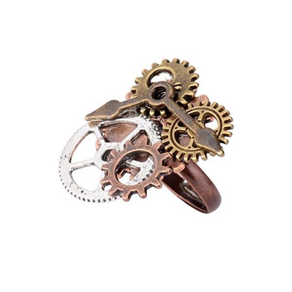 Baoblaze 2pcs Men Women Handmade Vintage Steampunk Watch Pointer Gear Ring Band Adjustable 5