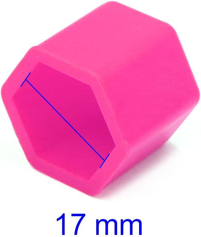 sourcing map 20pz 17mm Gomma Ruota Auto Pneumatici Vite Dado Tappi Coperchio mozzo Rosa Protezione