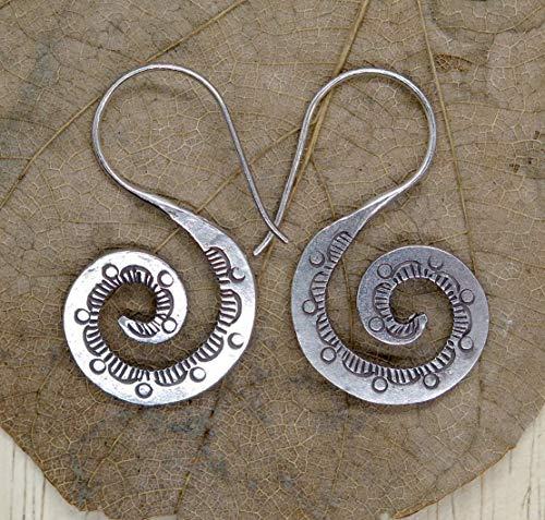 Sterling Silver Spiral Dangle Earrings,