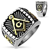 Freemasons Masonic IP Gold and Burnished Square Face Stainless Steel Casting Ring