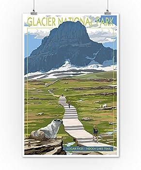 Glacier National Park Poster Wall Art Home Decor #vp42 Montana Print Glacier Red Bus Print Logan Pass