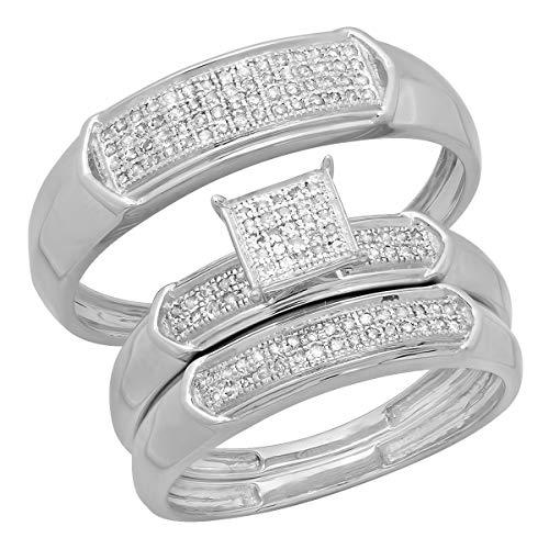 Dazzlingrock Collection 0.30 Carat (ctw) 14K Round White Diamond Men & Women's Micro Pave Trio Bridal Set 1/3 CT, White -