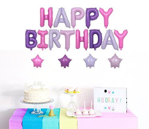 Happy Birthday Banner with 4 Star Foil Balloons Purple and Pink