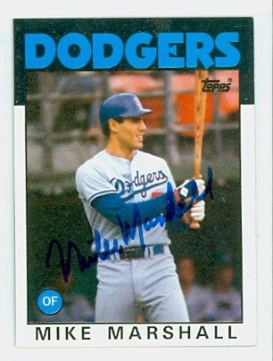 e979f0334 Mike Marshall AUTOGRAPH 1986 Topps  728 Los Angeles Dodgers at ...