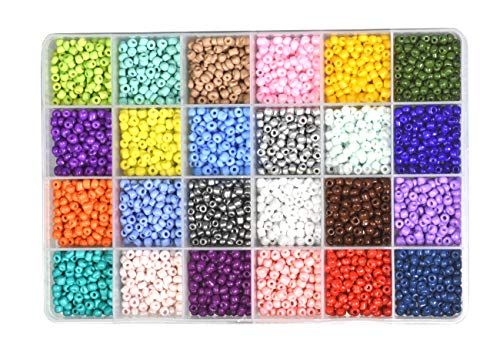 - Mandala Crafts Glass Seed Beads, Small Pony Beads Assorted Kit with Organizer Box for Jewelry Making, Beading, Crafting (Round 4X3.4MM 6/0, 24 Assorted Multicolor Set Combo 2)