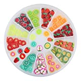 1 Set Fruit Cherry Watermelon Strawberry Fimo Nail Art Rhinestones In Wheel 3D Polymer Clay Glitter Decorations DIY Manicure Nails Tools Tips Kits Alluring Popular Xmas Winter Snow Holiday Tool Kit