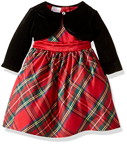 Blueberi Boulevard Girls' Plaid Velvet Dress, Red, 6/9 Months