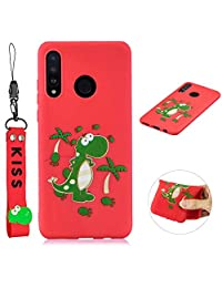 Cute Cool Phone Case for Huawei P30 Lite, SKYXD Dinosaur Cartoon Animal Silicone Soft Thin TPU Bumper Protective Case with Lovely Hand Wrist Strap Bracelet + Glass Screen Protector Cover