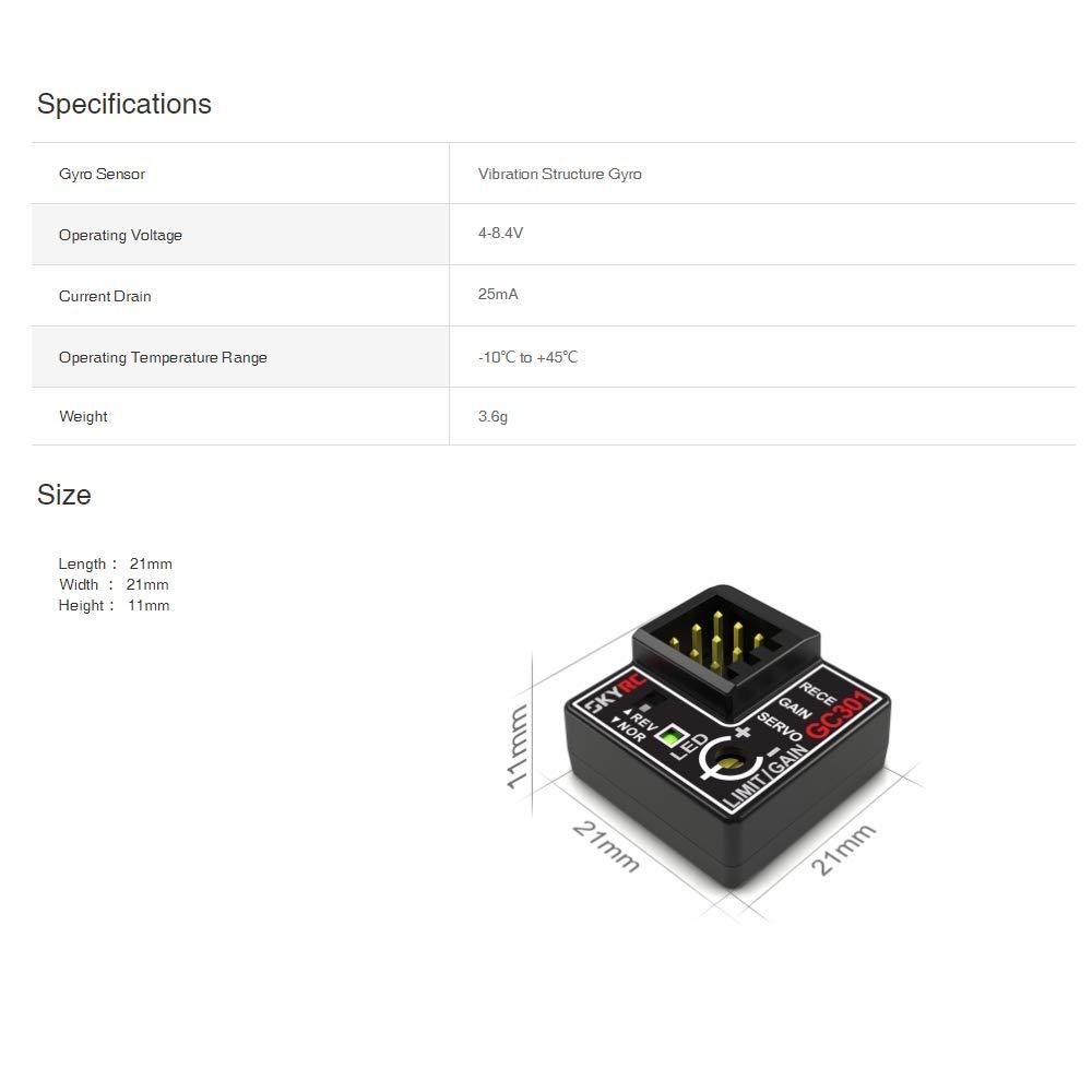 SKYRC GC301 Gyro per RC Cars Drift Racing Car Steering Output Integrated Design Compatto e Leggero