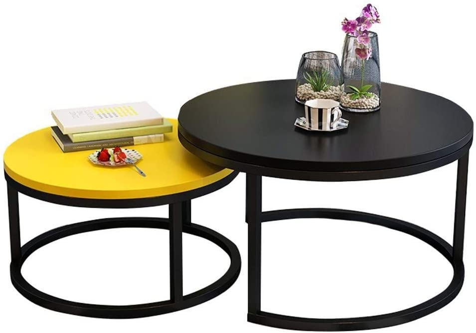 Njyt End Tables Nesting Side Table Coffee Table Round Industrial