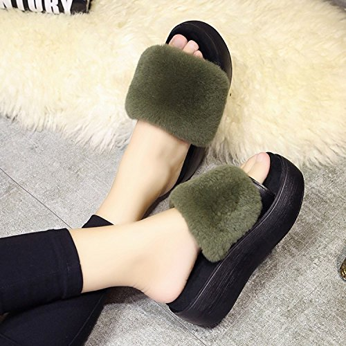 Da donna casual pantofole interno per mantenere caldo in autunno autunno autunno e in inverno peluche pantofole, verde, 36 7303f6