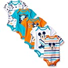Disney Baby Mickey 5 Pack Bodysuits, Multi/Orange, 3-6 Months