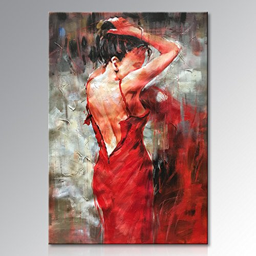 Abstract Figure Art (Seekland Art Hand painted Red Sexy Girl Abstract Canvas Wall Art Impression Figure Oil Painting Modern Contemporary Artwork Fine Pictures Unframed (2024 inch))