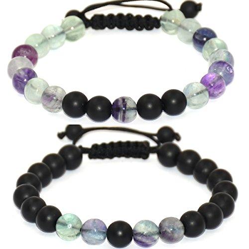 Massive Beads Distance Bracelet Enjoit Black Matte Agate & Natural Fluorite Energy Stone Beads Bracelet Set Couple - Fluorite Set