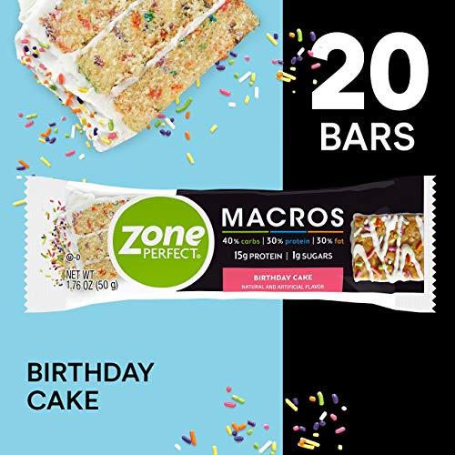 ZonePerfect Macros Protein Bars, Birthday Cake, 20 Count